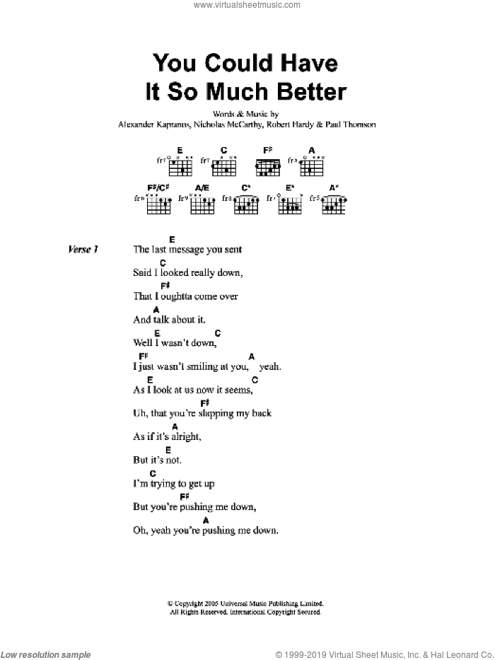 You Could Have It So Much Better sheet music for guitar (chords) by Franz Ferdinand, Alexander Kapranos, Nicholas McCarthy, Paul Thomson and Robert Hardy, intermediate skill level