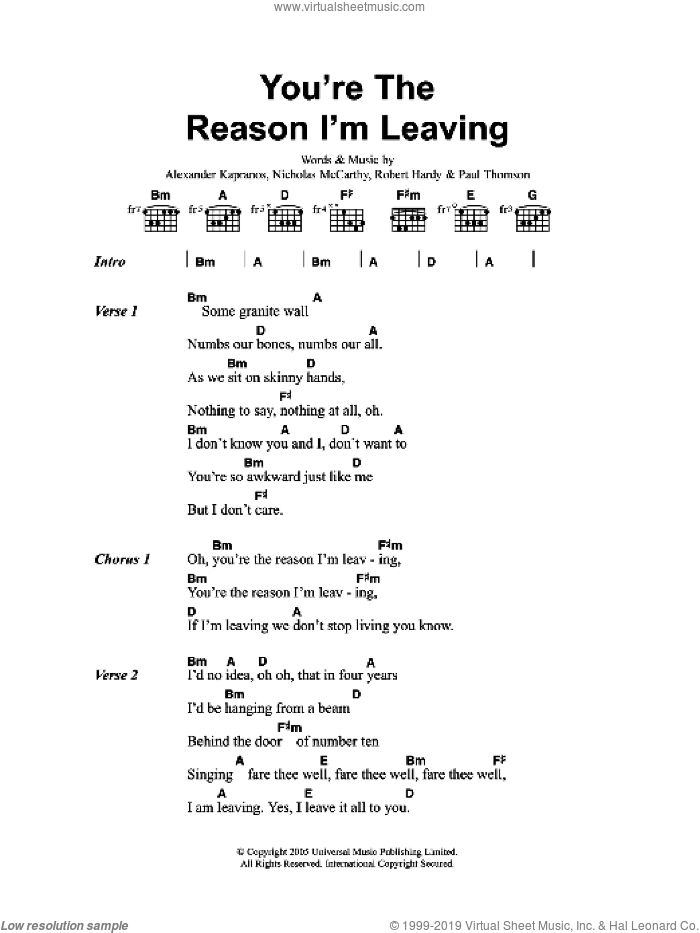 You're The Reason I'm Leaving sheet music for guitar (chords) by Alexander Kapranos, Franz Ferdinand, Nicholas McCarthy and Robert Hardy. Score Image Preview.