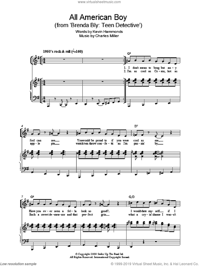 All American Boy sheet music for piano solo by Charles Miller and Kevin Hammonds, easy skill level