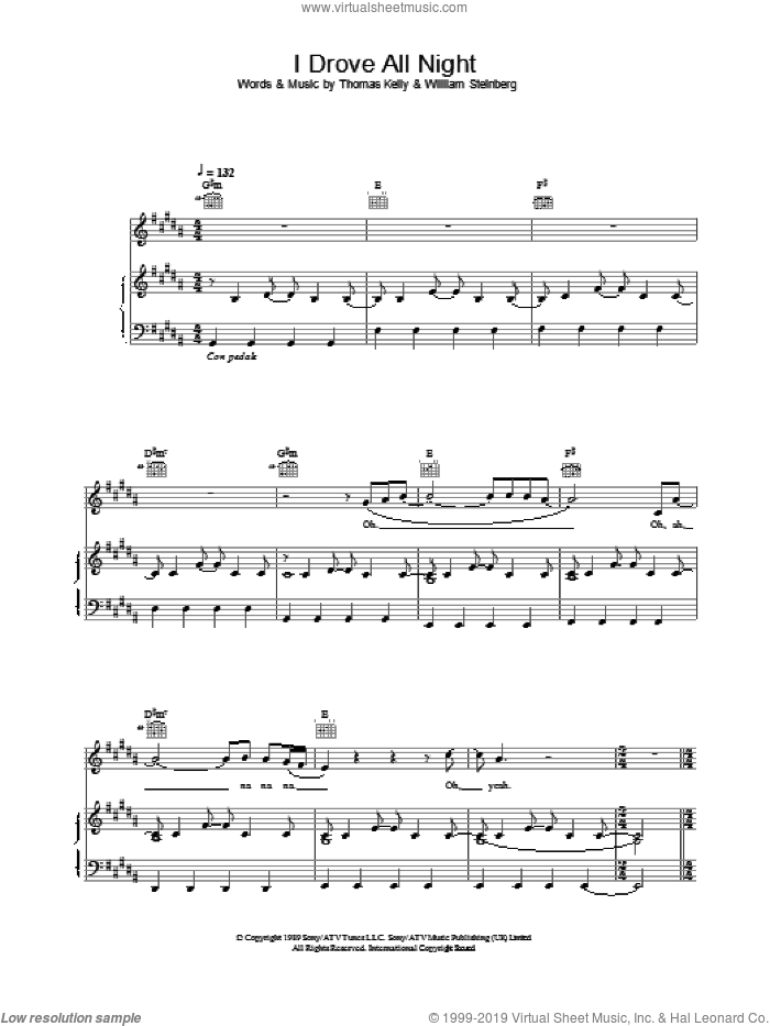 I Drove All Night sheet music for voice, piano or guitar by Celine Dion. Score Image Preview.