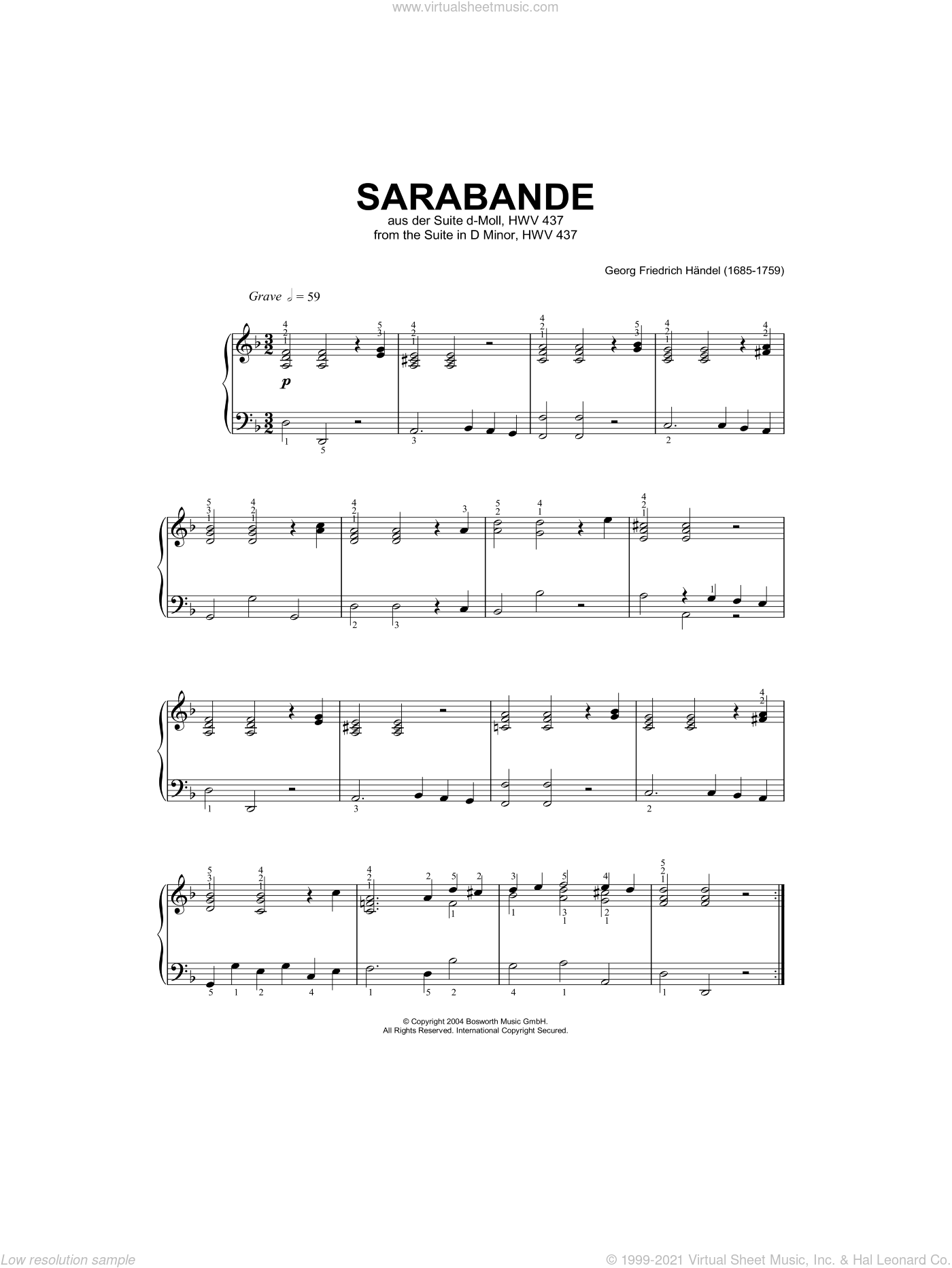 Sarabande (from Harpsichord Suite in D Minor) sheet music for piano solo by George Frideric Handel and Hans-Gunter Heumann, classical score, intermediate