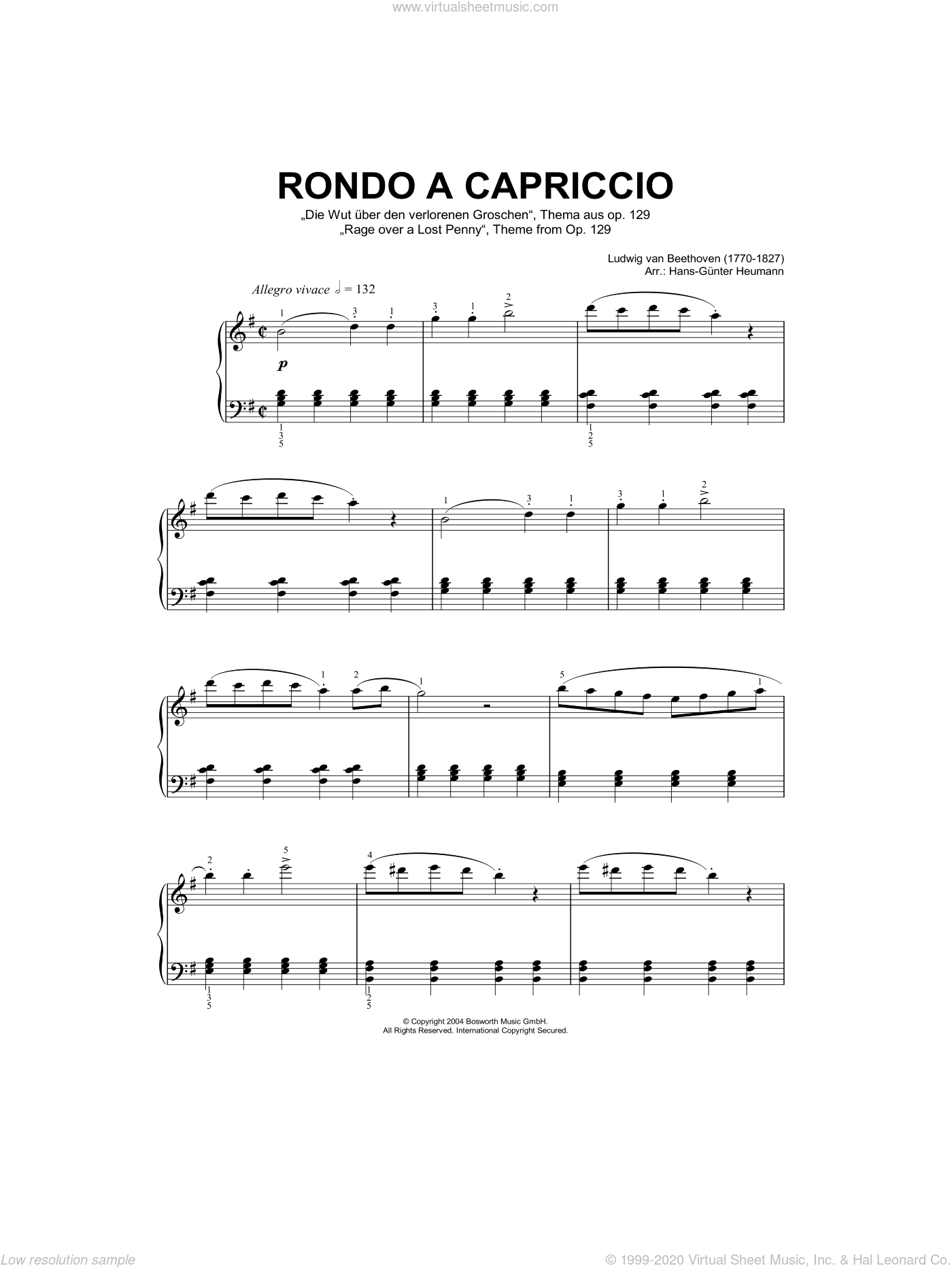 Rondo A Capriccio (Rage Over A Lost Penny), Theme from Op.129 sheet music for piano solo by Ludwig van Beethoven and Hans-Gunter Heumann, classical score, intermediate