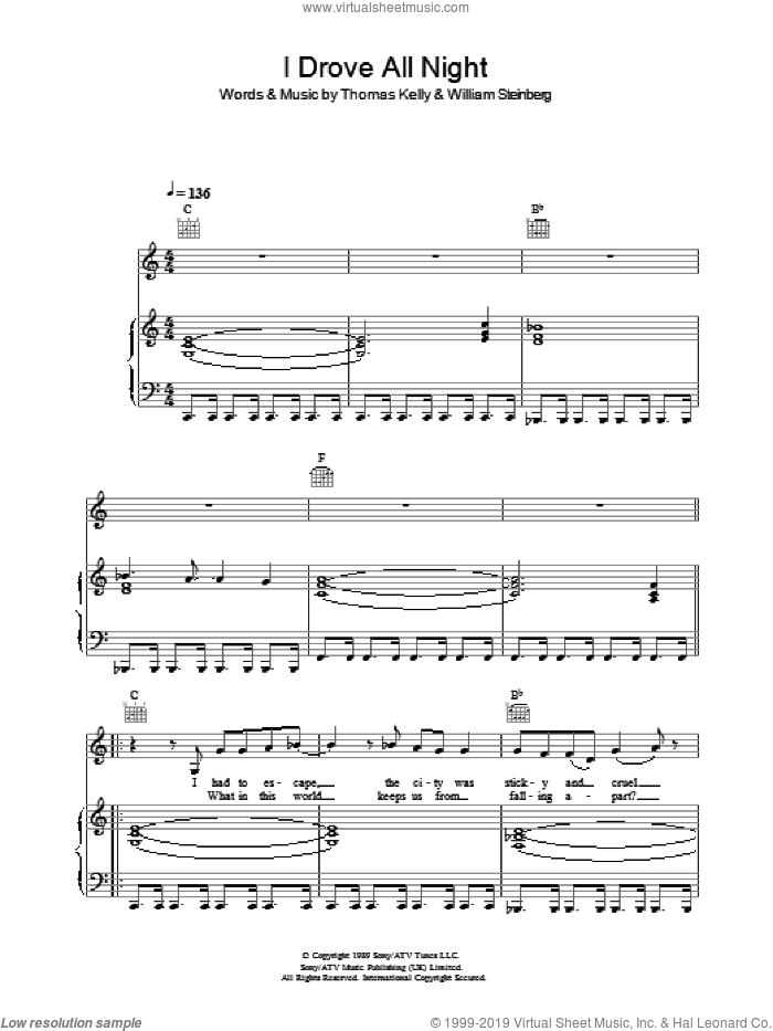 I Drove All Night sheet music for voice, piano or guitar by Roy Orbison, intermediate voice, piano or guitar. Score Image Preview.