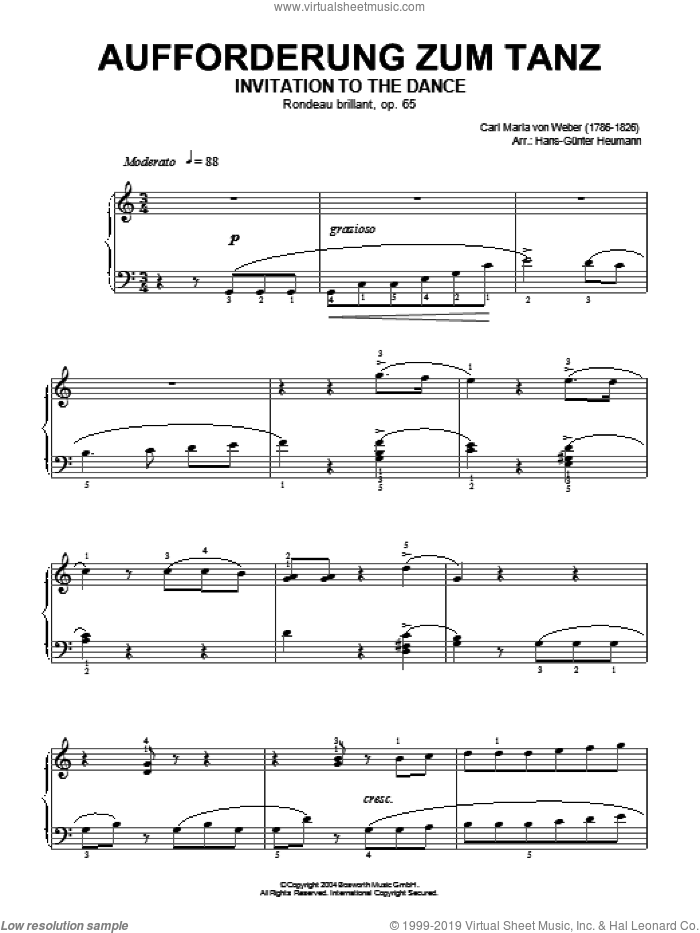 Invitation To The Dance, Rondeau Brillant, Op.65 sheet music for piano solo by Carl Maria Von Weber and Hans-Gunter Heumann, classical score, intermediate skill level