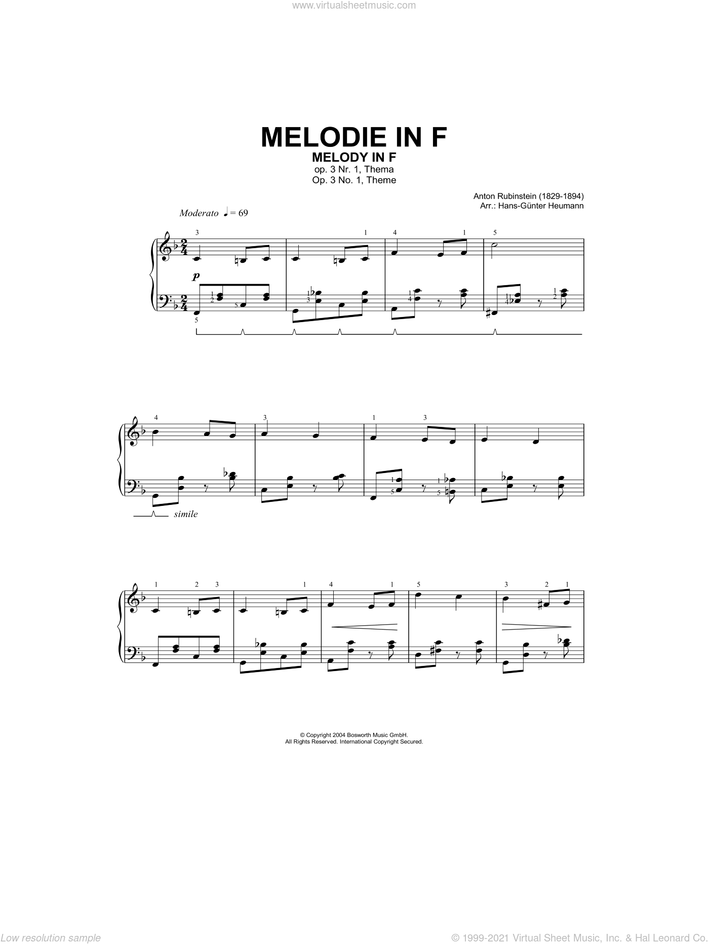 Rubinstein - Melody In F sheet music for piano solo [PDF]