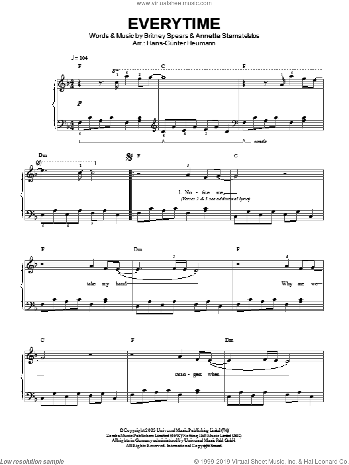 Everytime sheet music for piano solo by Annette Stamatelatos, Hans-Gunter Heumann and Britney Spears. Score Image Preview.