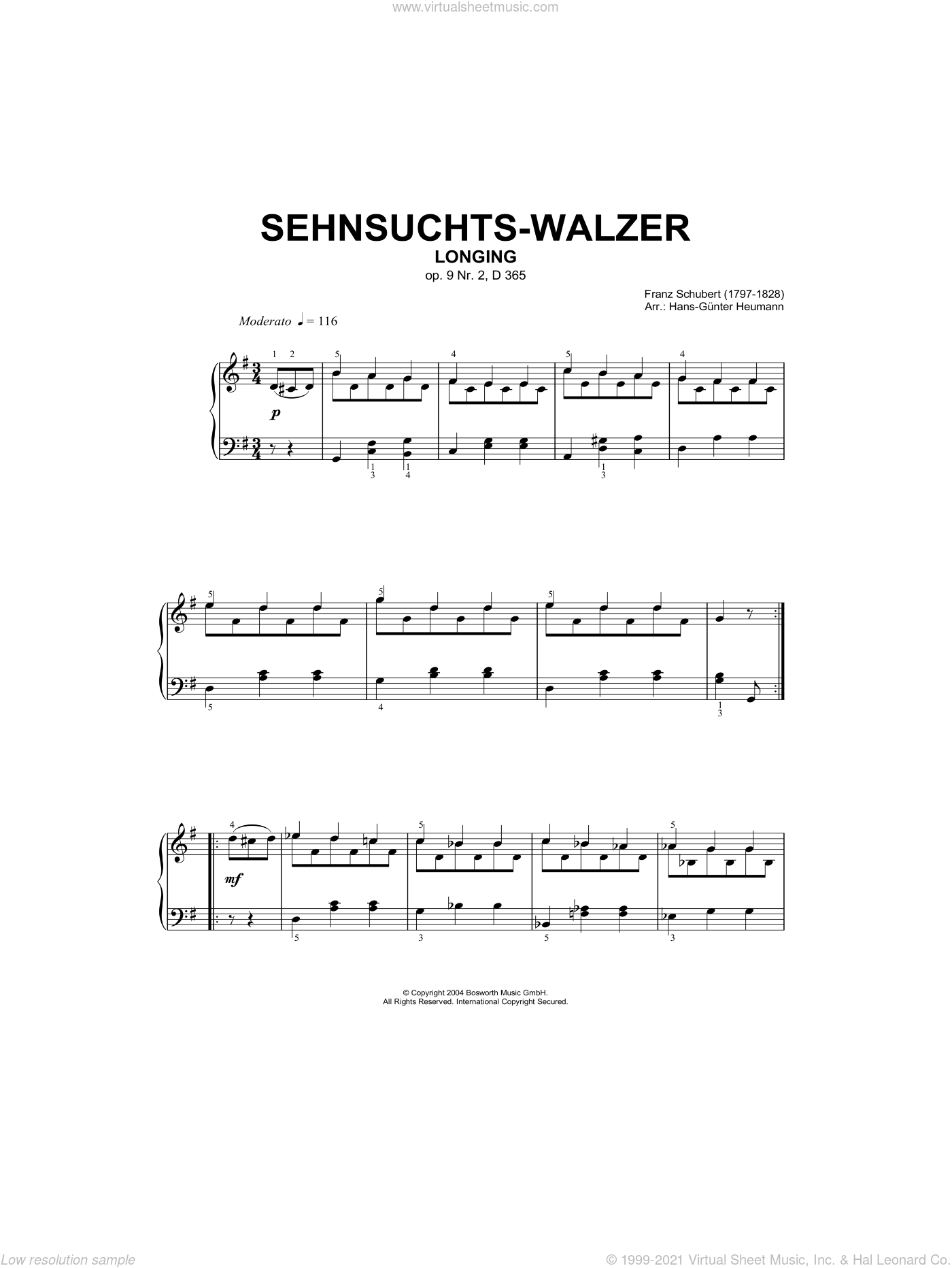 Sehnsuchts-Walzer (Longing), Op.9, No.2, D365 sheet music for piano solo by Franz Schubert