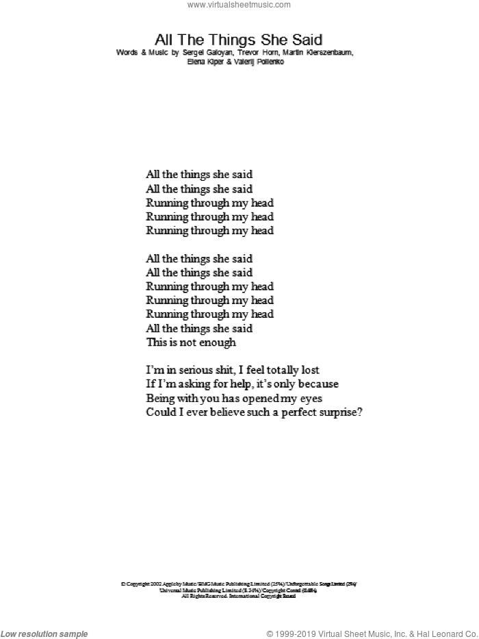 t.A.T.u. – All the Things She Said Lyrics | Genius Lyrics