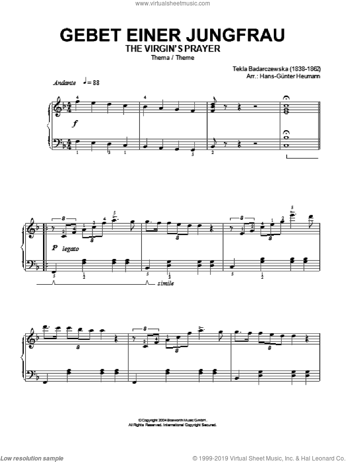 The Virgin's Prayer (Theme) sheet music for piano solo by Tekla Badarczewska and Hans-Gunter Heumann, classical score, intermediate skill level