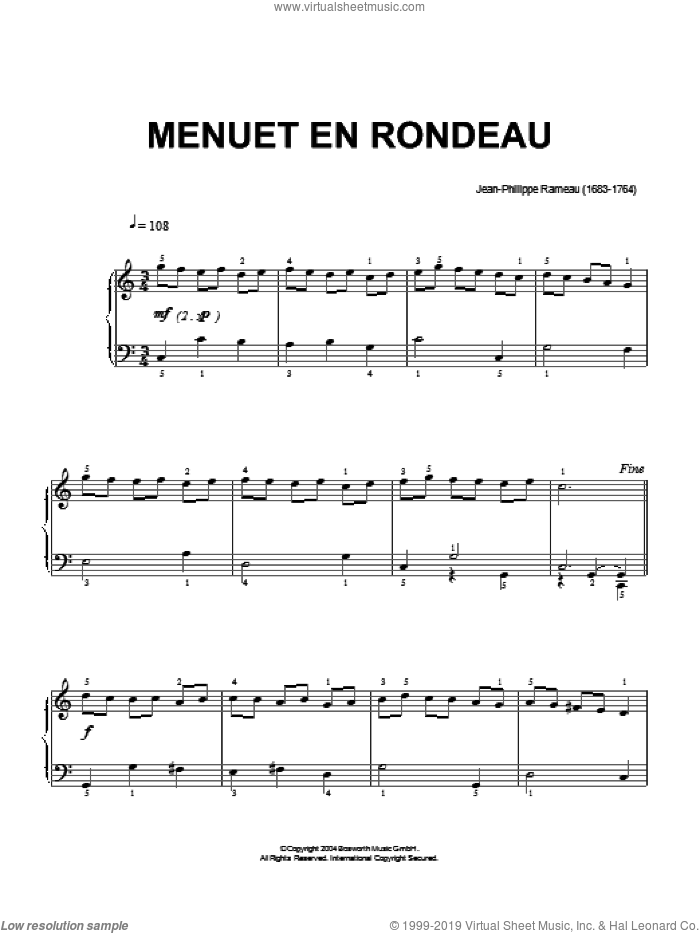Menuet En Rondeau sheet music for piano solo by Jean-Philippe Rameau and Hans-Gunter Heumann, classical score, intermediate piano. Score Image Preview.