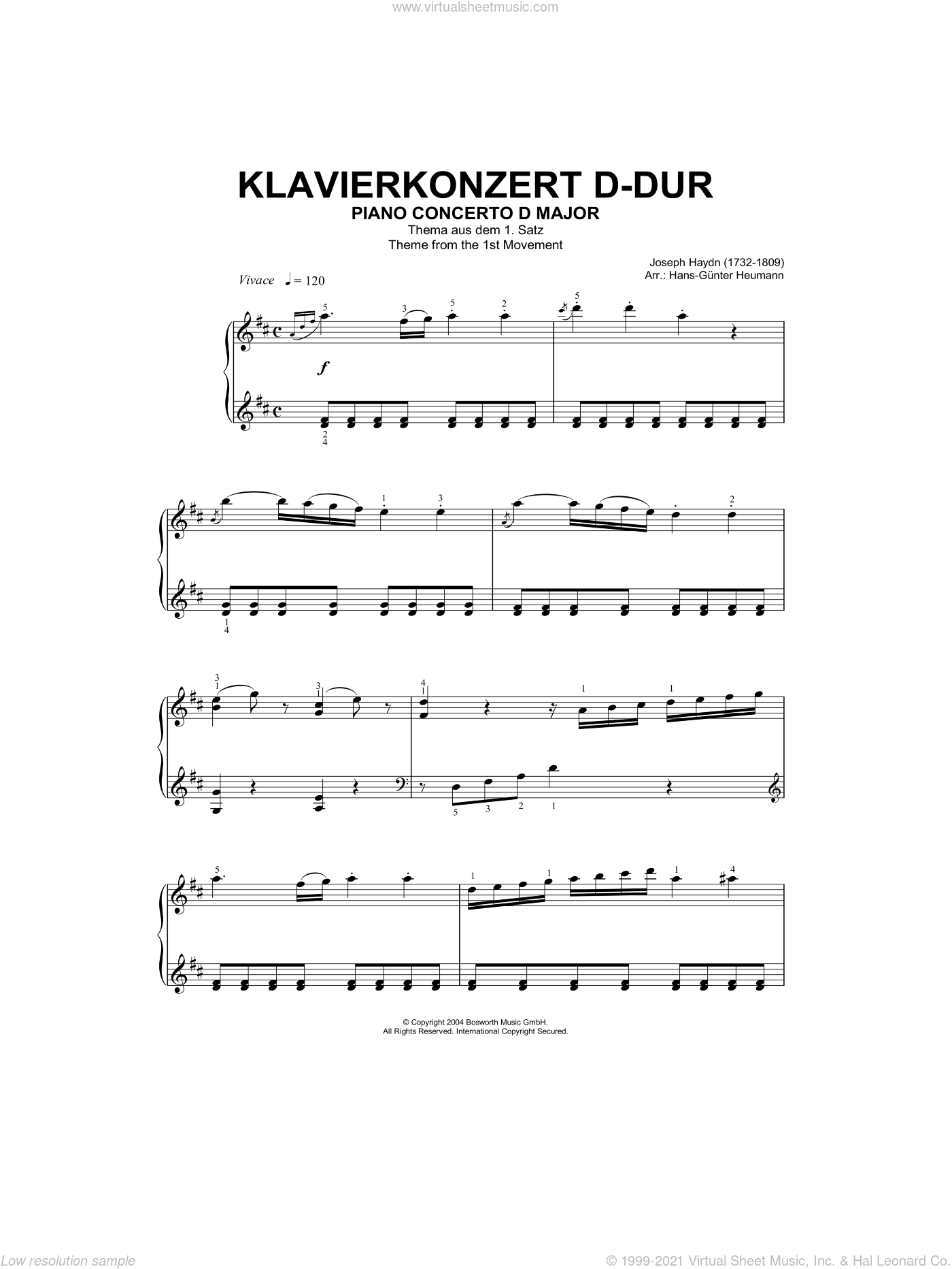 Piano Concerto In D Major, Theme From First Movement sheet music for piano solo by Franz Joseph Haydn and Hans-Gunter Heumann, classical score, intermediate skill level
