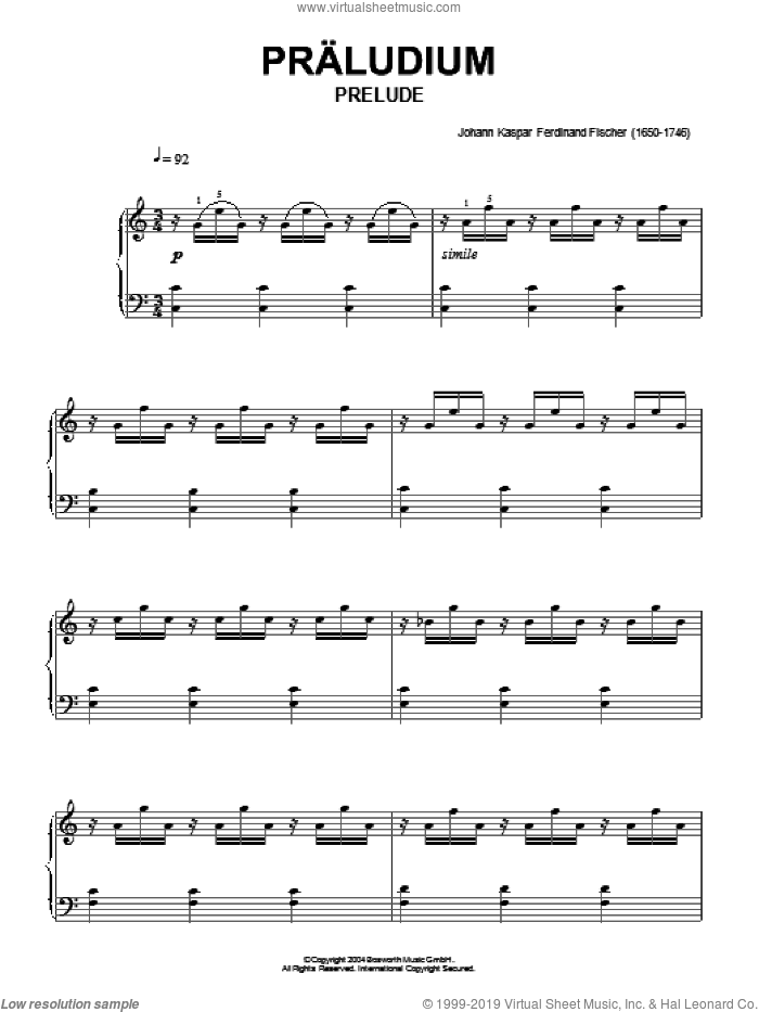 Prelude sheet music for piano solo by Johann Caspar Ferdinand Fischer