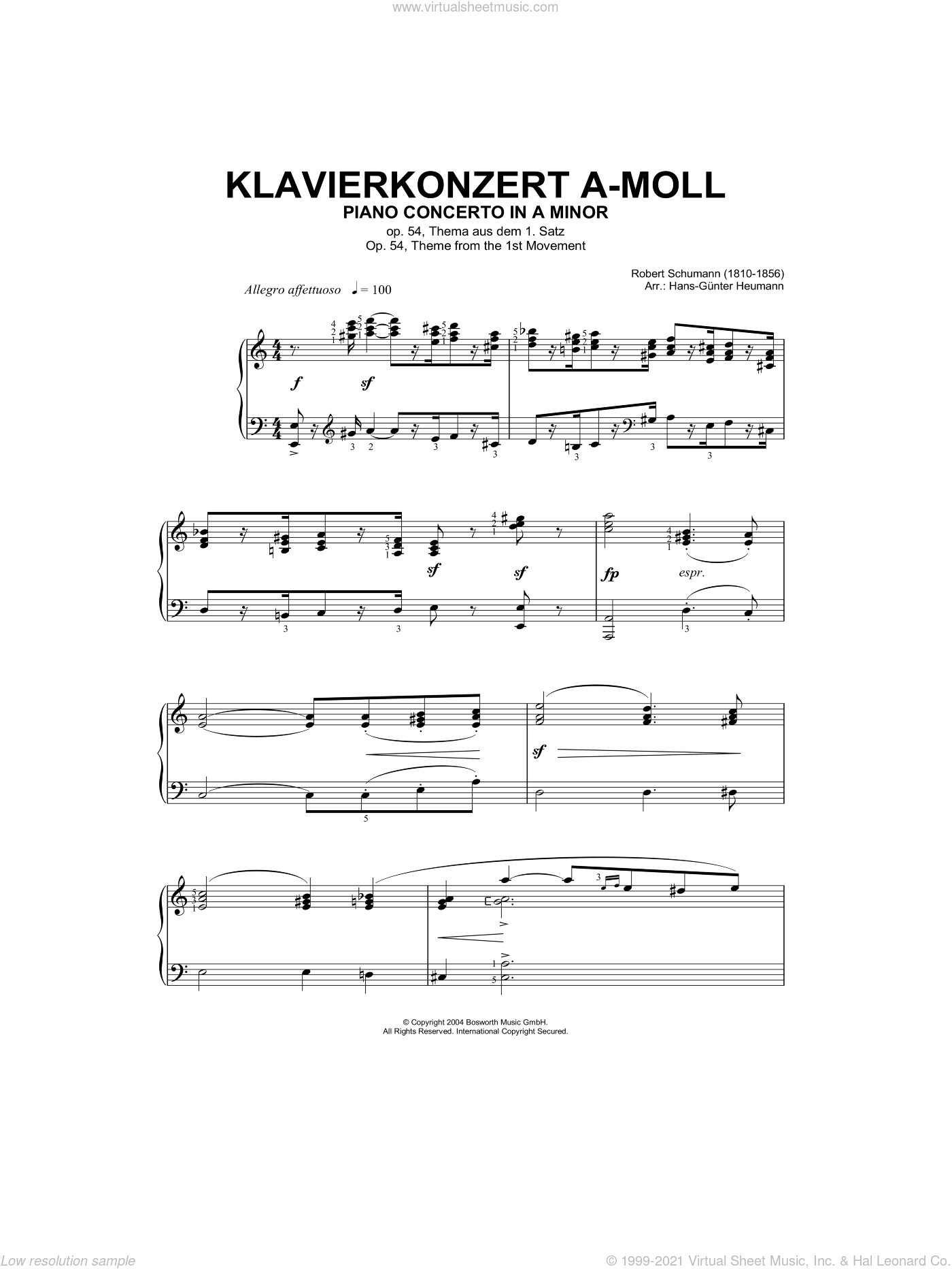 Piano Concerto In A Minor, Op.54, theme from the First Movement sheet music for piano solo by Robert Schumann