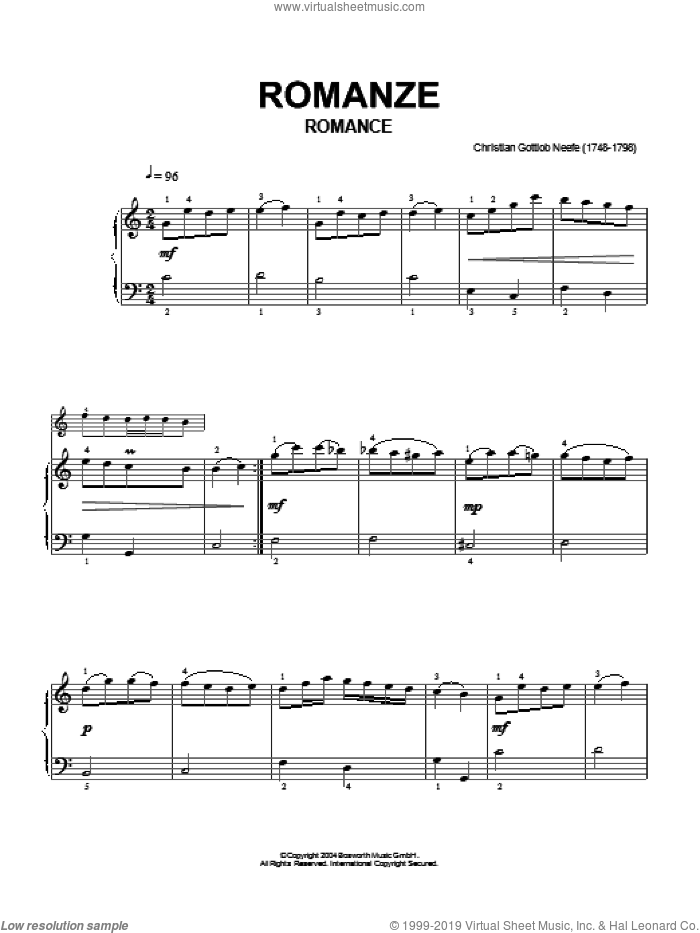 Romance sheet music for piano solo by Christian Gottlob Neefe and Hans-Gunter Heumann. Score Image Preview.