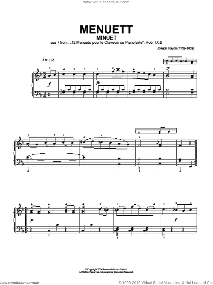 Minuet, From 12 Menuets Pour Le Clavecin Ou Pianoforte sheet music for piano solo by Franz Joseph Haydn and Hans-Gunter Heumann, classical score, intermediate skill level