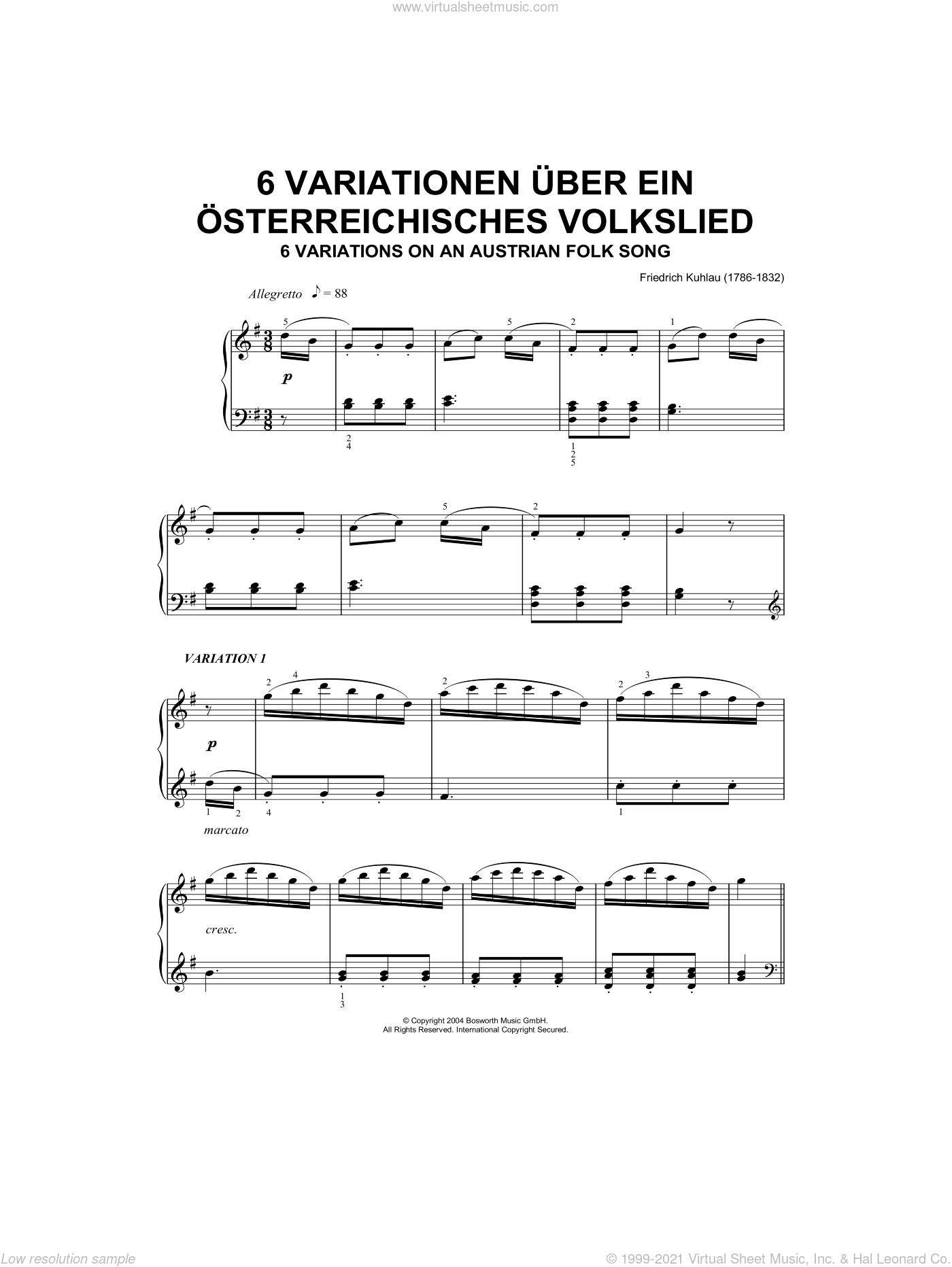 Six Variations On An Austrian Folk Song sheet music for piano solo by Friedrich Daniel Rudolf Kuhlau