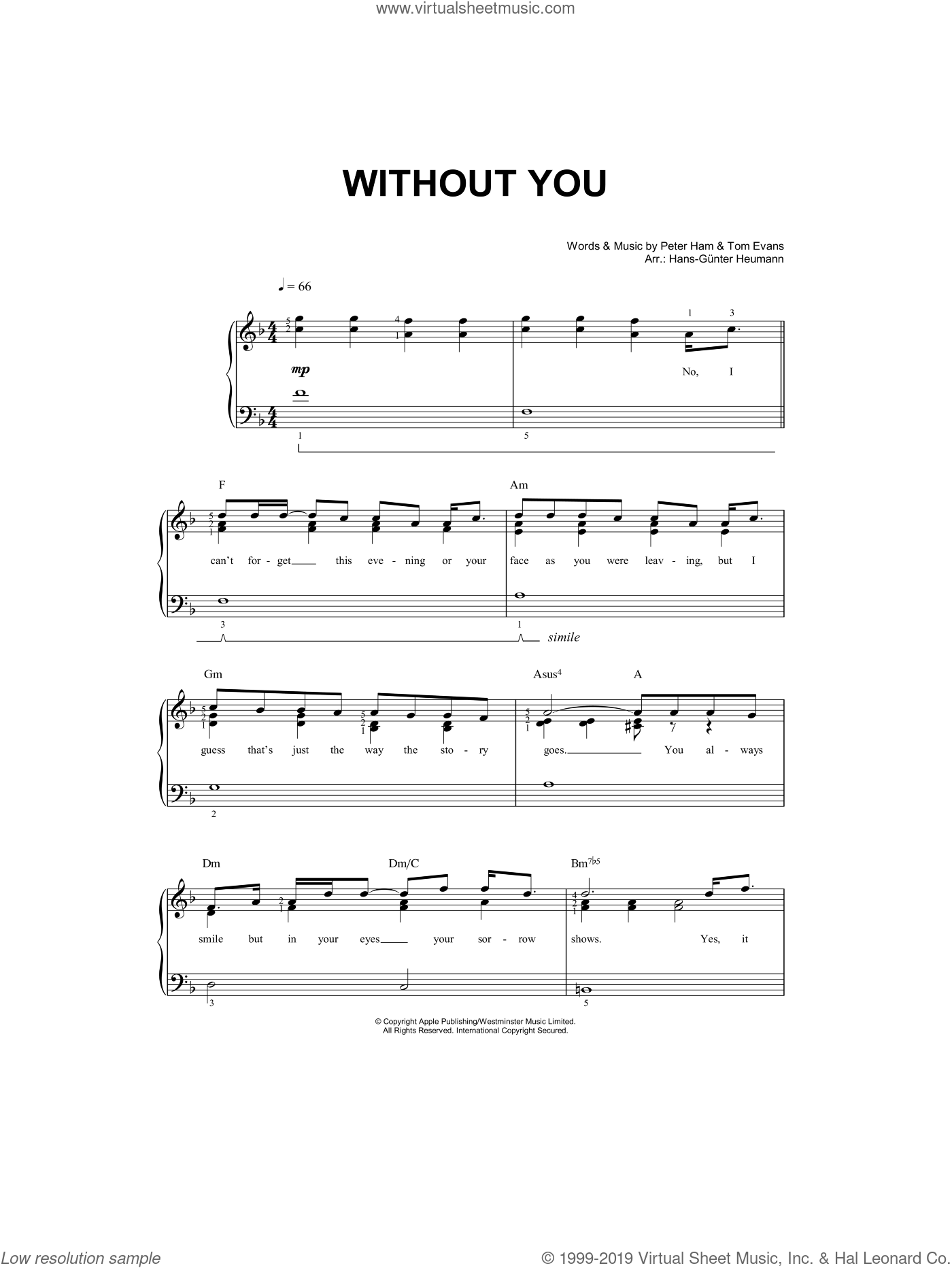 Without You sheet music for piano solo by Pete Ham, Hans-Gunter Heumann, Mariah Carey and Tom Evans. Score Image Preview.