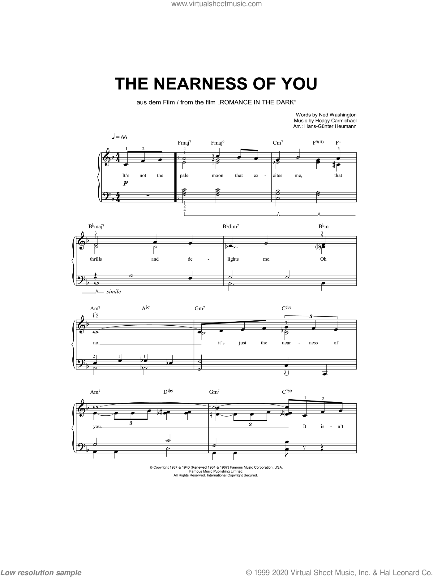 The Nearness Of You sheet music for piano solo by Ned Washington