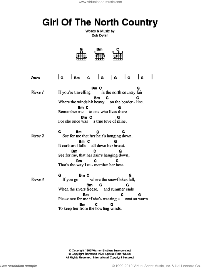 Girl Of The North Country sheet music for guitar (chords) by Bob Dylan