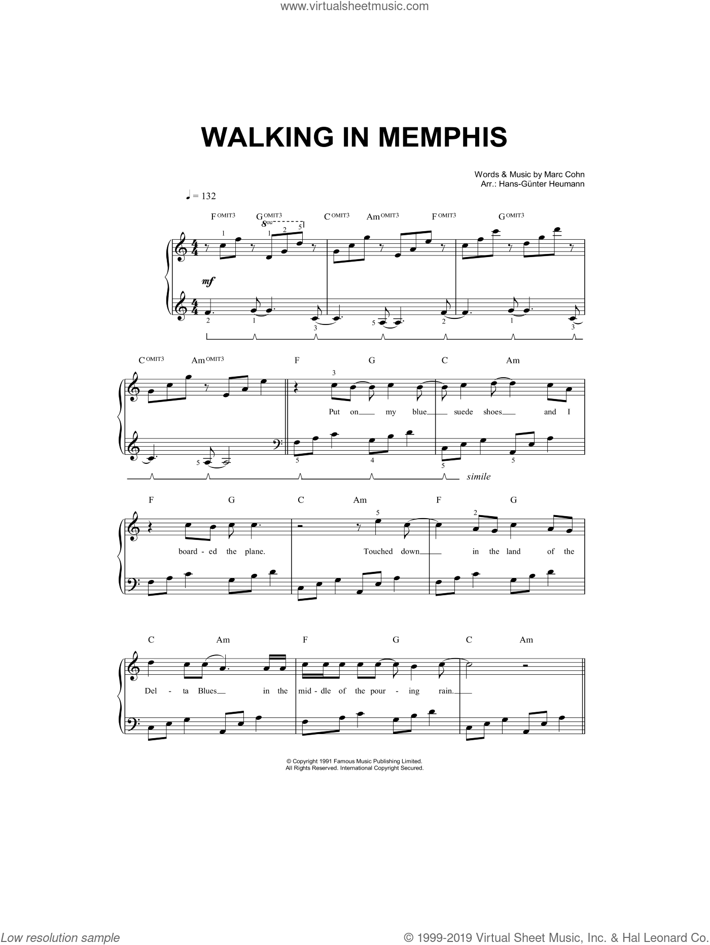 Walking In Memphis sheet music for piano solo (chords) by Marc Cohn