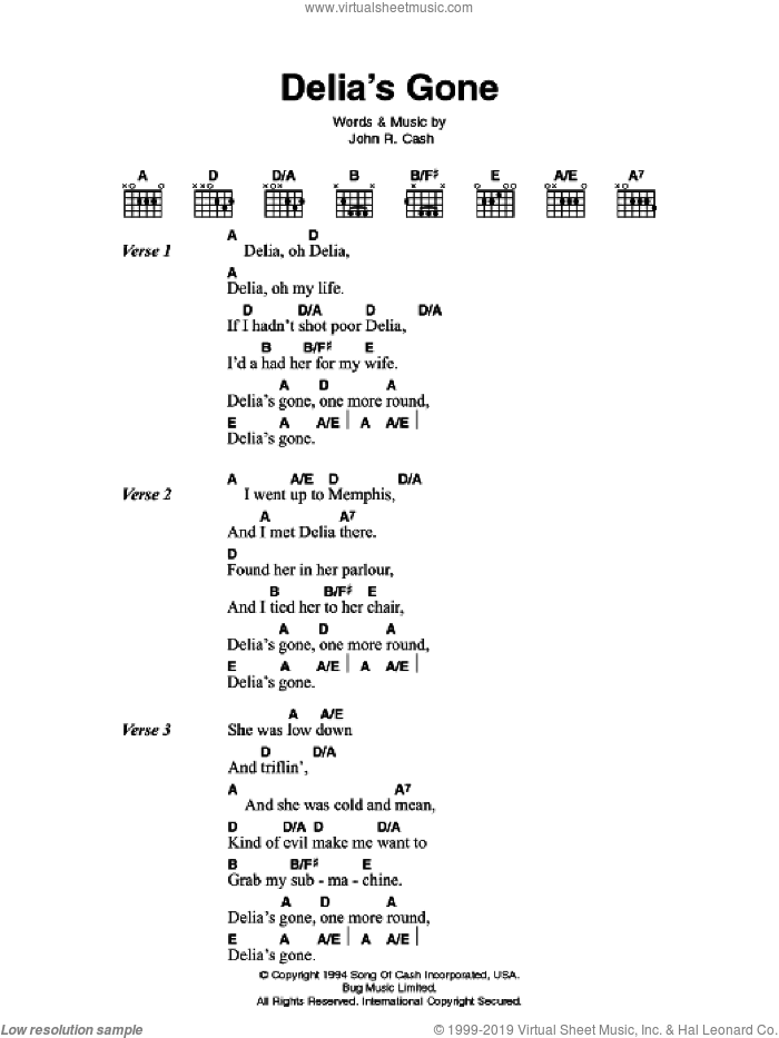 Delia's Gone sheet music for guitar (chords) by Johnny Cash, intermediate skill level