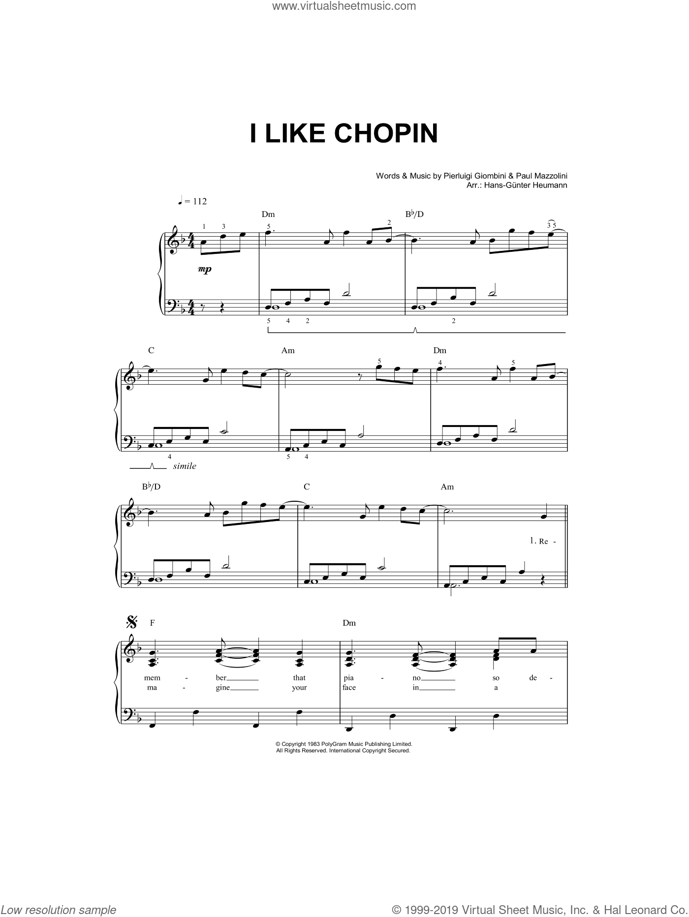 I Like Chopin sheet music for piano solo by Gazebo, Paul Mazzolini and Pierluigi Giombini, easy skill level
