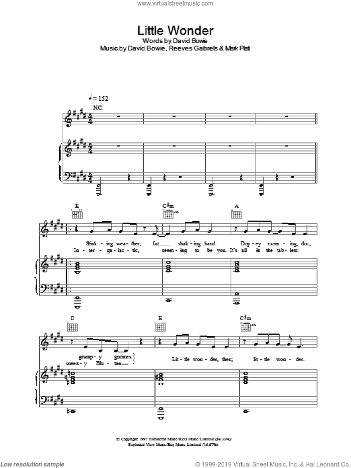 Little Wonder sheet music for voice, piano or guitar by David Bowie, intermediate skill level