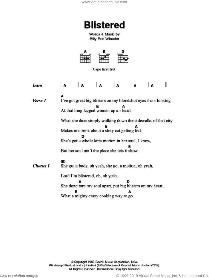 Blistered sheet music for guitar (chords) by Johnny Cash and Billy Edd Wheeler, intermediate skill level