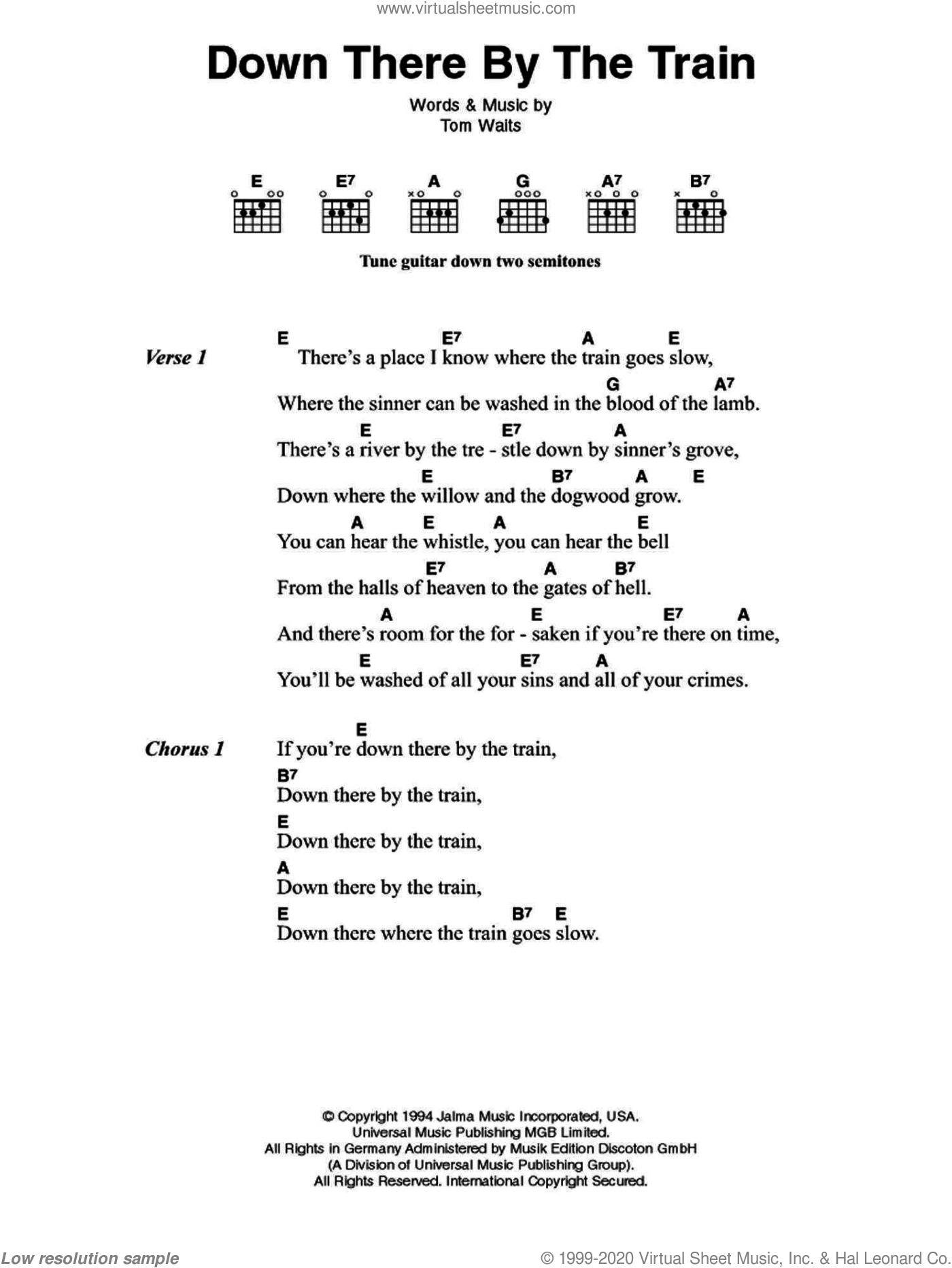 Down There By The Train sheet music for guitar (chords) by Johnny Cash and Tom Waits, intermediate skill level