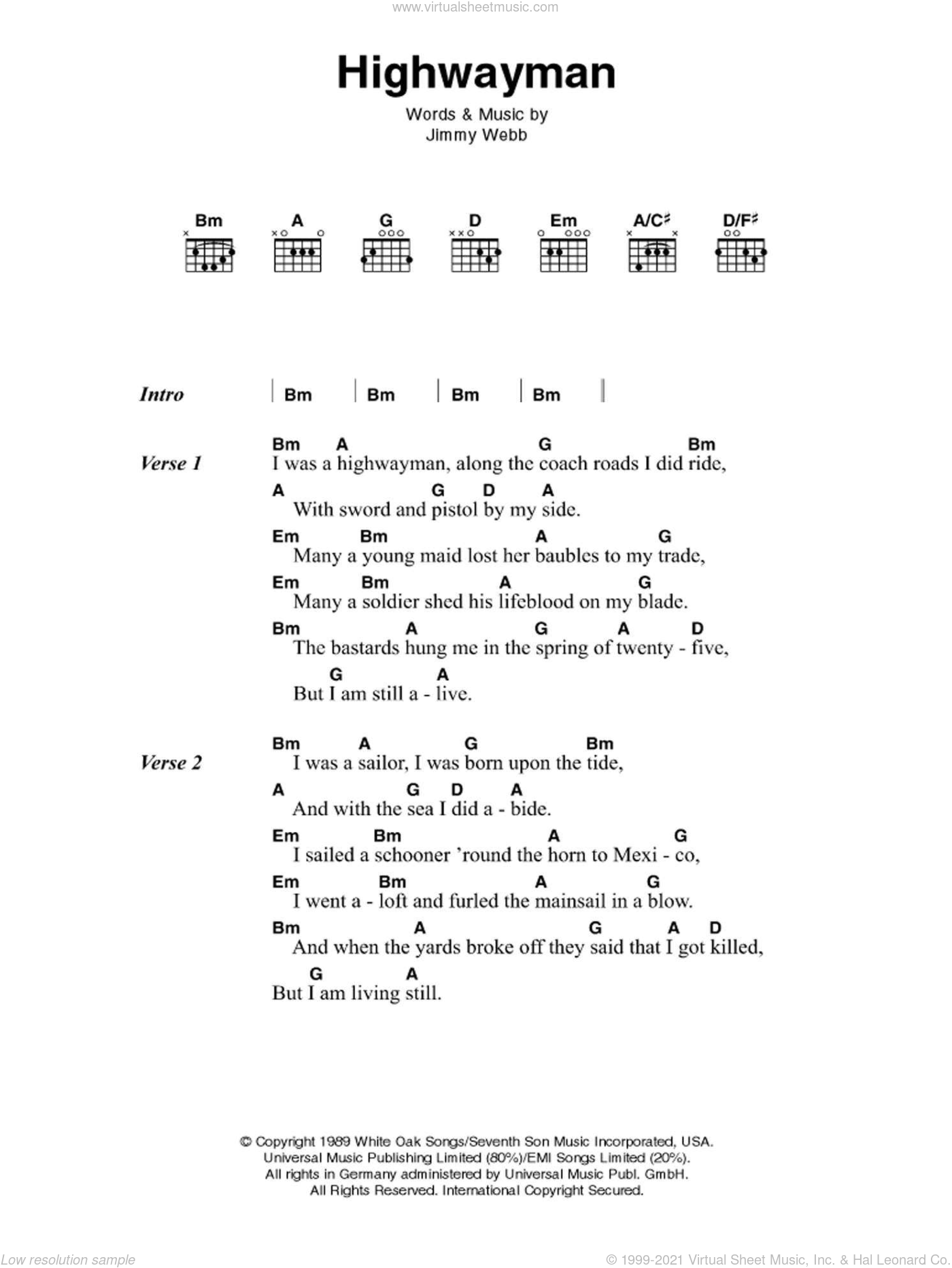The Highwayman sheet music for guitar (chords) by Johnny Cash and Jimmy Webb. Score Image Preview.