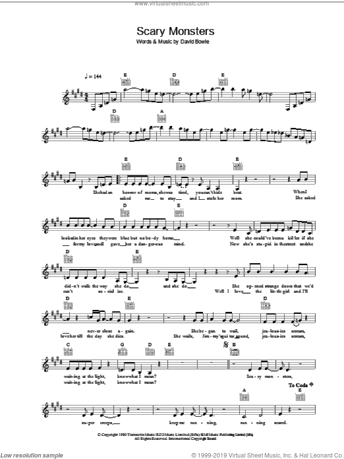 Scary Monsters sheet music for voice and other instruments (fake book) by David Bowie, intermediate. Score Image Preview.