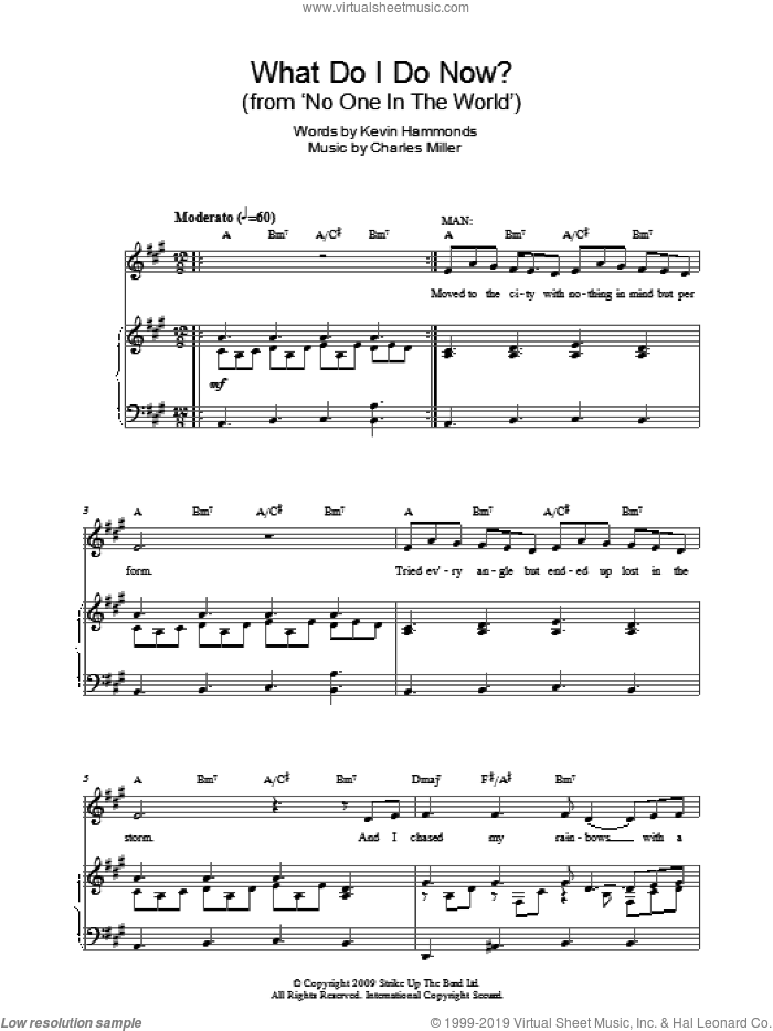 What Do I Do Now? sheet music for piano solo by Charles Miller and Kevin Hammonds, easy skill level