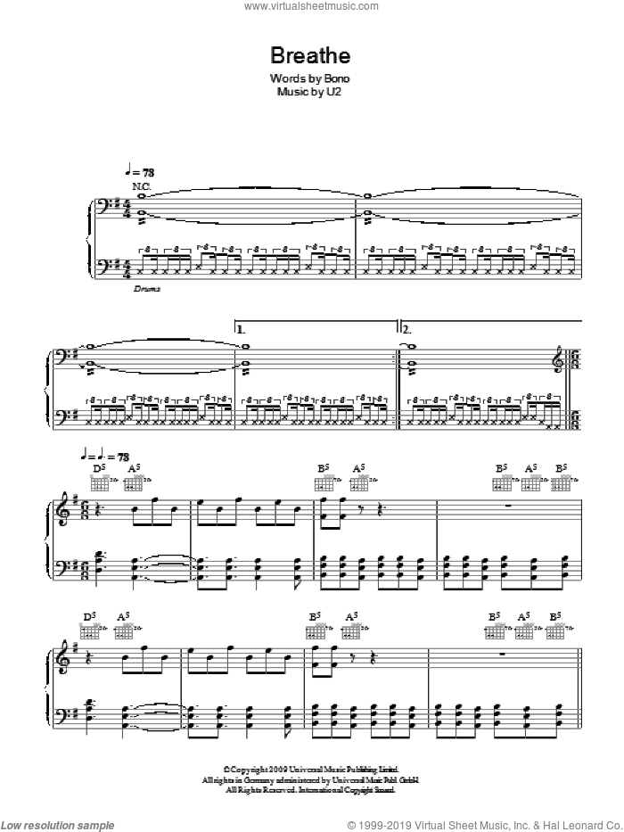 Breathe sheet music for voice, piano or guitar by U2 and Bono, intermediate skill level
