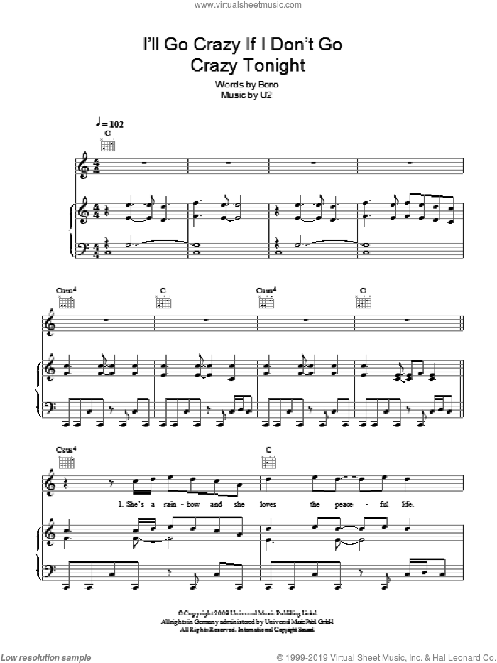 I'll Go Crazy If I Don't Go Crazy Tonight sheet music for voice, piano or guitar by U2 and Bono. Score Image Preview.