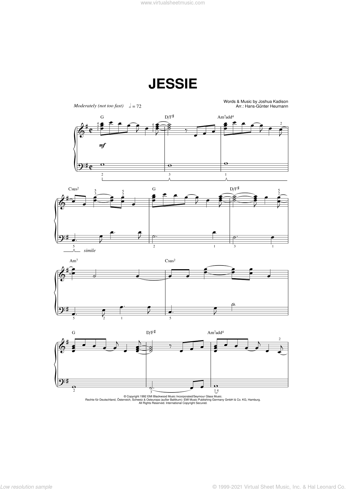 Jessie sheet music for piano solo by Joshua Kadison and Hans-Gunter Heumann. Score Image Preview.