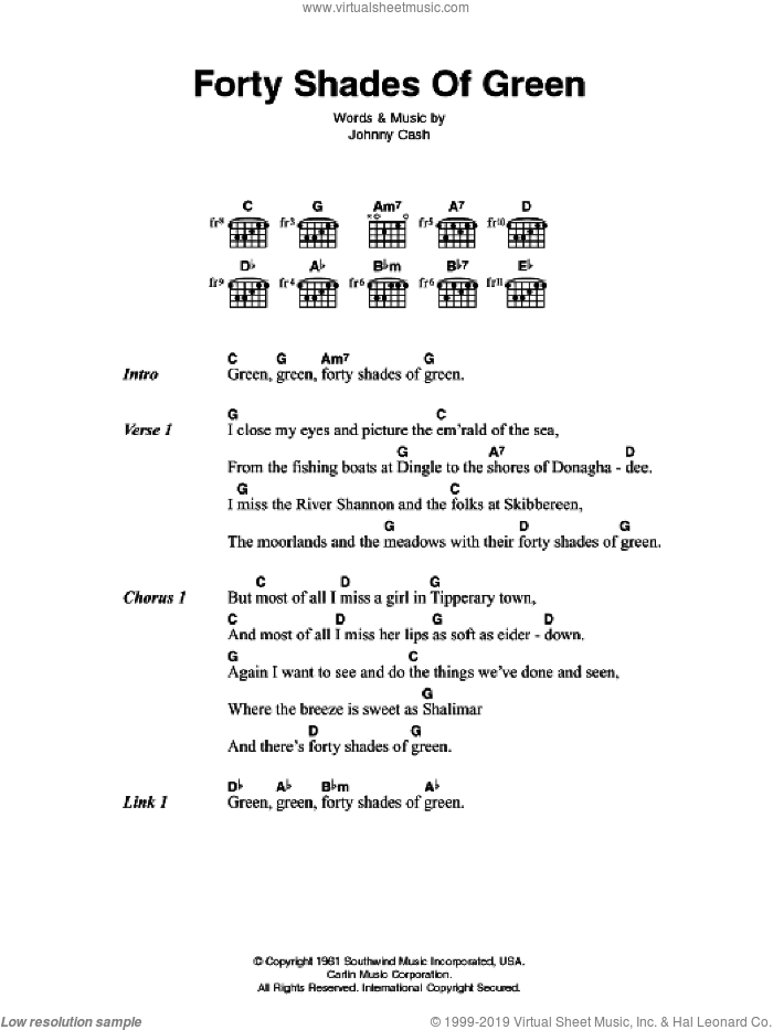 Forty Shades Of Green sheet music for guitar (chords) by Johnny Cash, intermediate skill level