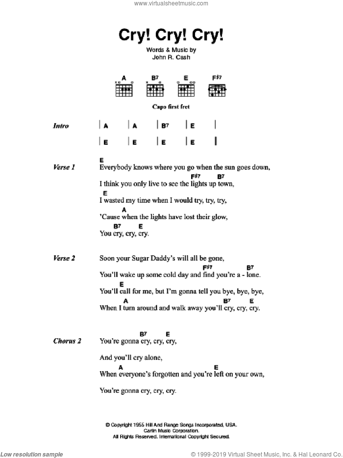 Cash Cry Cry Cry Sheet Music For Guitar Chords