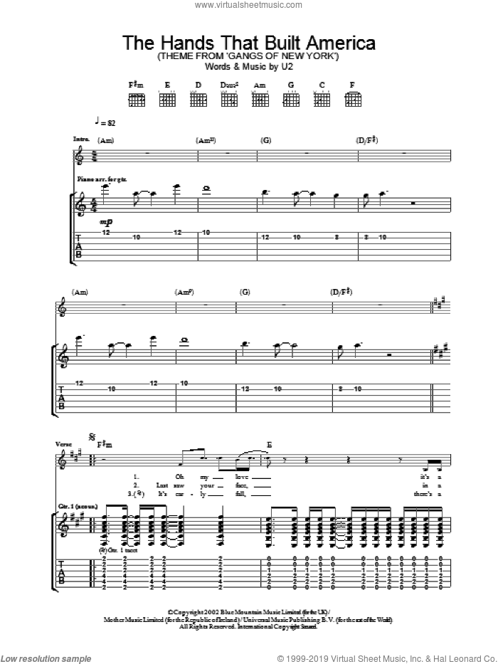 The Hands That Built America sheet music for guitar (tablature) by U2, intermediate skill level