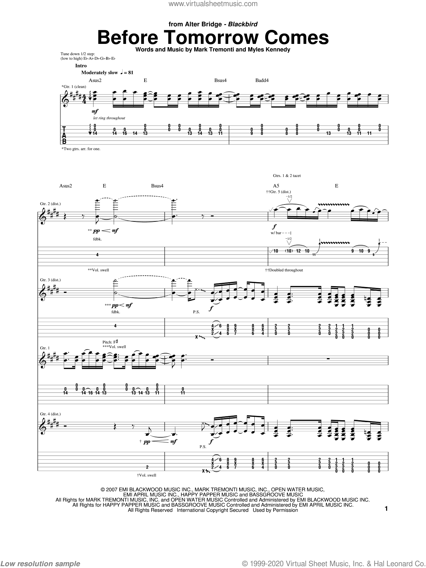 Before Tomorrow Comes sheet music for guitar (tablature) by Alter Bridge and Mark Tremonti. Score Image Preview.
