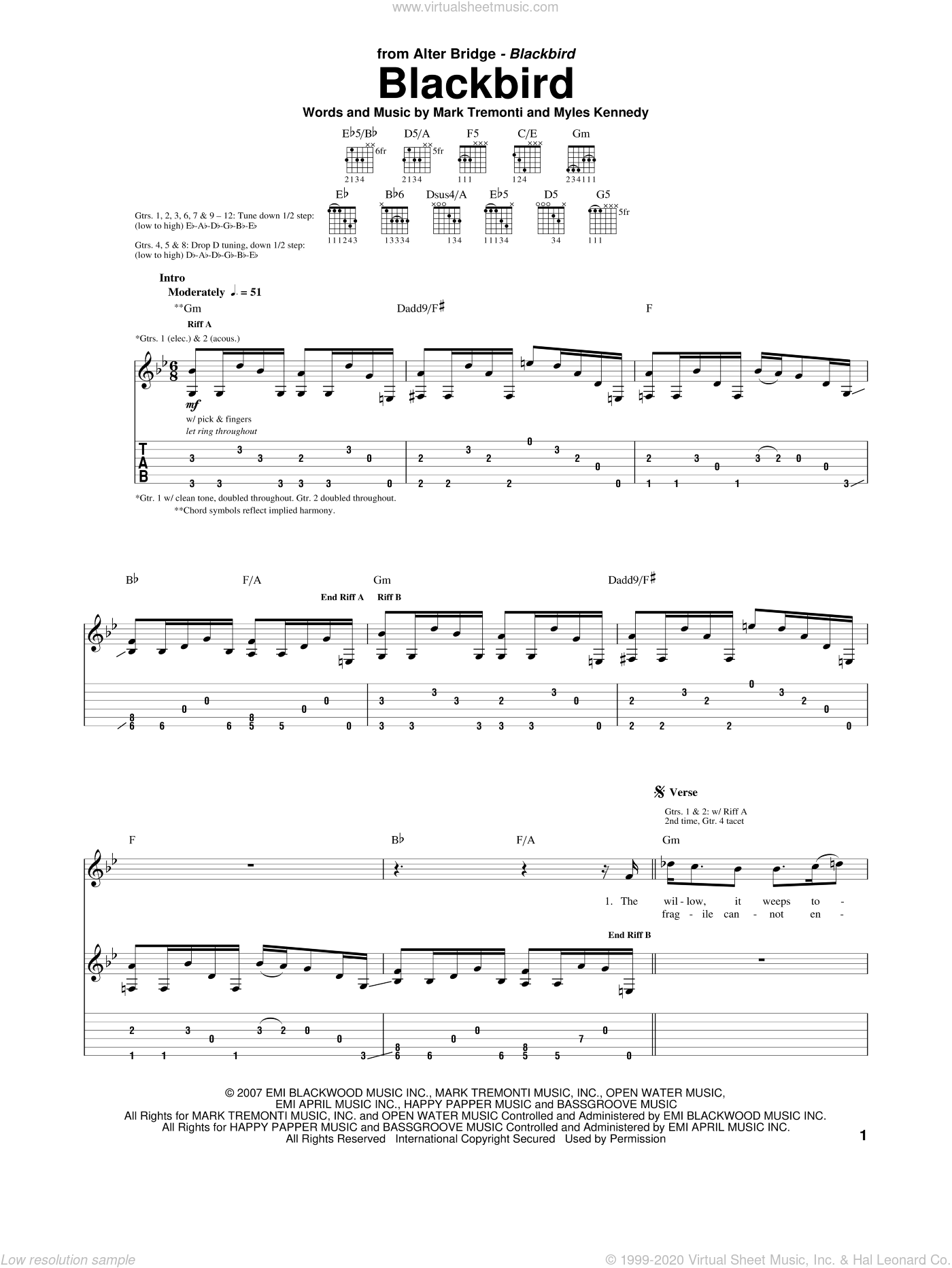 Blackbird sheet music for guitar (tablature) by Alter Bridge, Mark Tremonti and Myles Kennedy, intermediate skill level