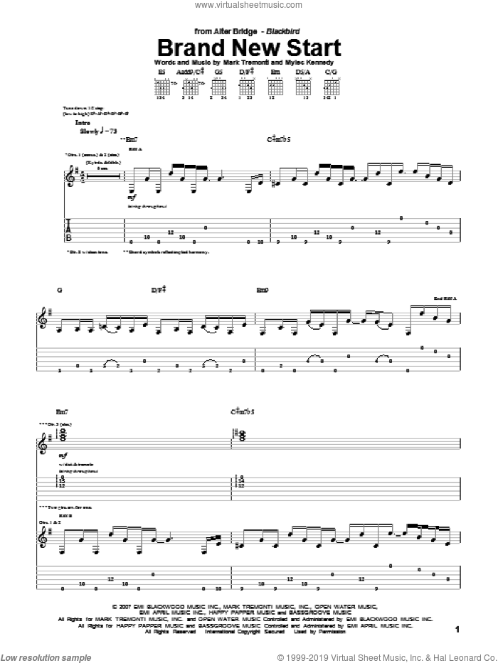 Brand New Start sheet music for guitar (tablature) by Myles Kennedy, Alter Bridge and Mark Tremonti. Score Image Preview.