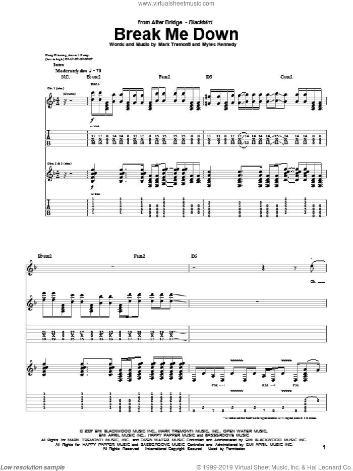 Break Me Down sheet music for guitar (tablature) by Alter Bridge, Mark Tremonti and Myles Kennedy, intermediate skill level