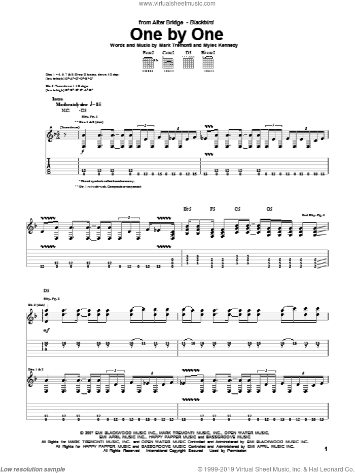 One By One sheet music for guitar (tablature) by Myles Kennedy, Alter Bridge and Mark Tremonti. Score Image Preview.