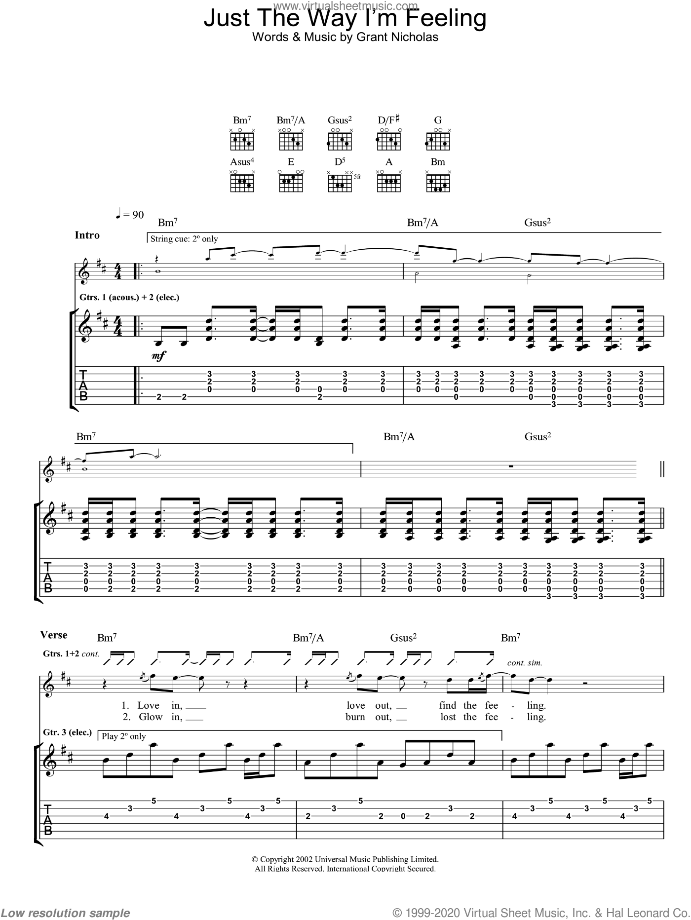 Just The Way I'm Feeling sheet music for guitar (tablature) by Feeder. Score Image Preview.