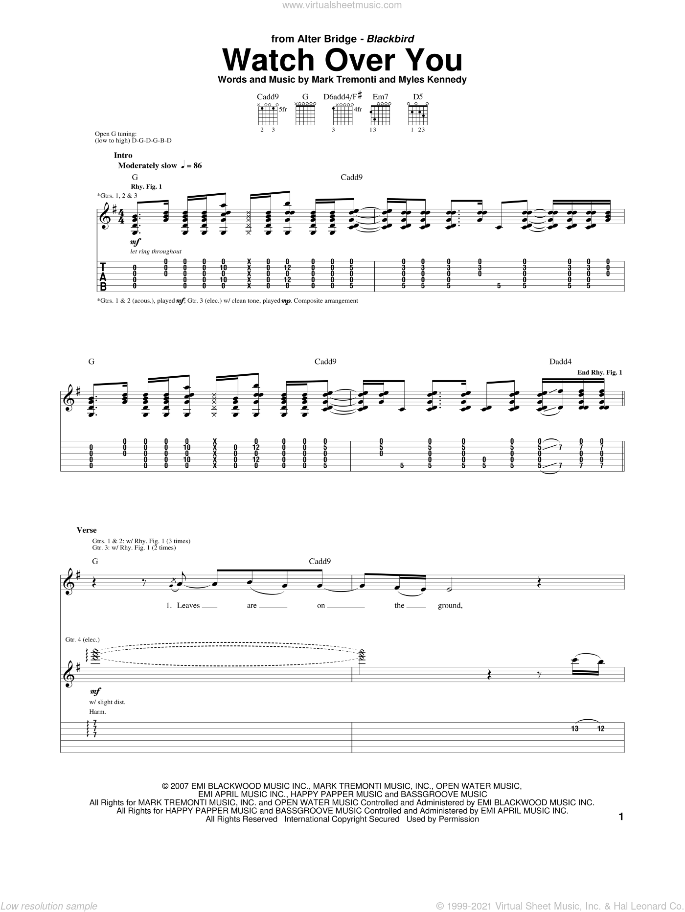 Watch Over You sheet music for guitar (tablature) by Myles Kennedy, Alter Bridge and Mark Tremonti. Score Image Preview.