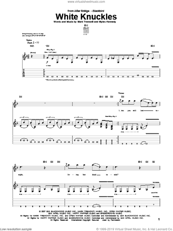 White Knuckles sheet music for guitar (tablature) by Myles Kennedy