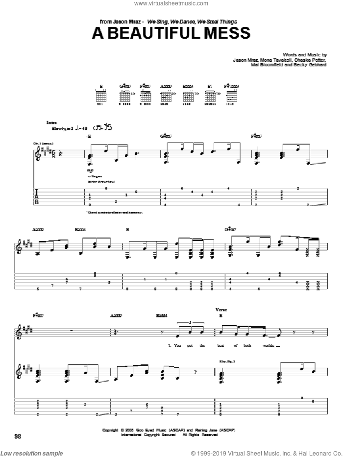 A Beautiful Mess sheet music for guitar (tablature) by Mona Tavakoli and Jason Mraz. Score Image Preview.