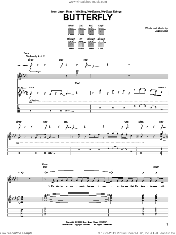 Butterfly sheet music for guitar (tablature) by Jason Mraz, intermediate guitar (tablature). Score Image Preview.