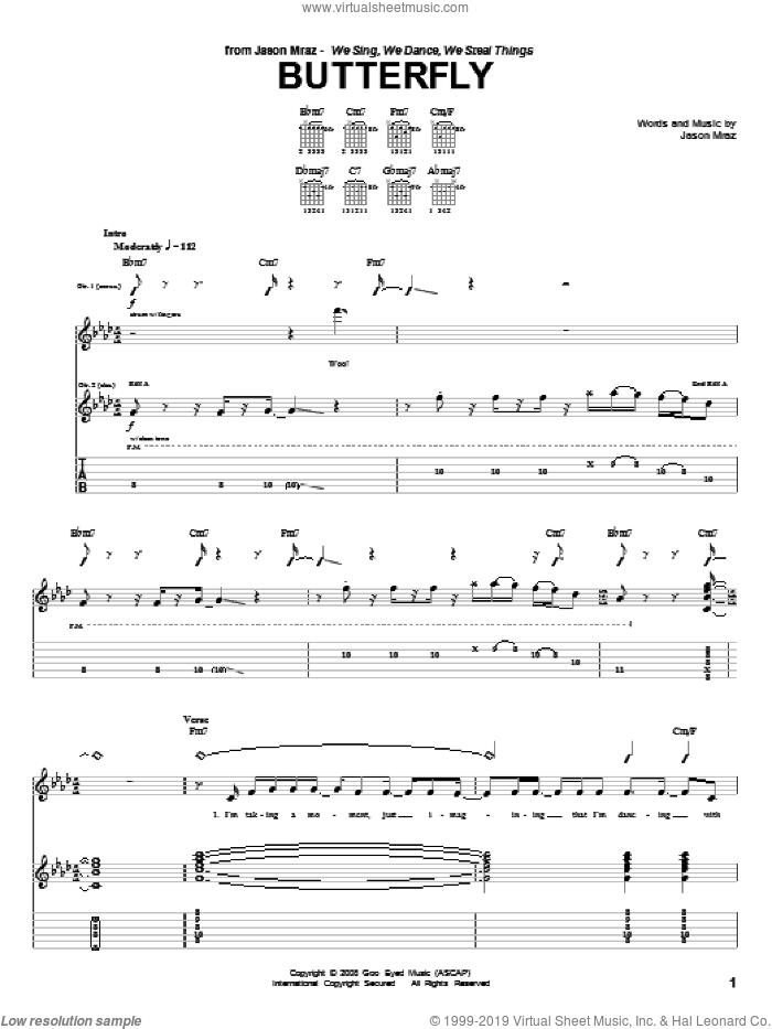 Butterfly sheet music for guitar (tablature) by Jason Mraz, intermediate skill level