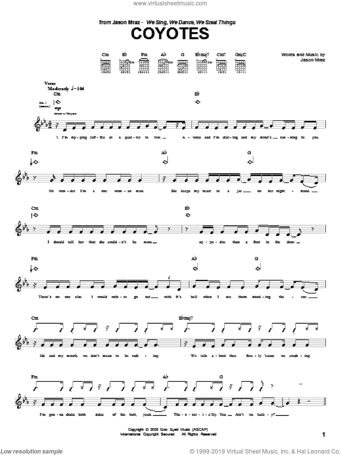Coyotes sheet music for guitar (tablature) by Jason Mraz, intermediate